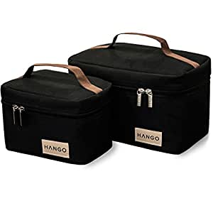 Hango Adult Lunch Box Insulated Lunch Bag Large Cooler Tote Bag (Set of 2 Sizes) for Men and Women, Black