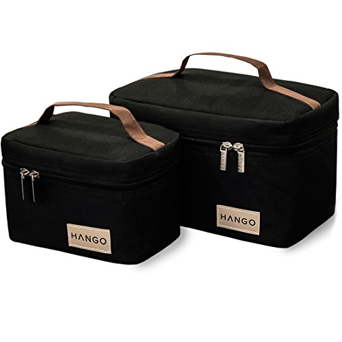 (Hango Adult Lunch Box Insulated Lunch Bag Large Cooler Tote Bag (Set of 2 Sizes) For Men and Women, Black)