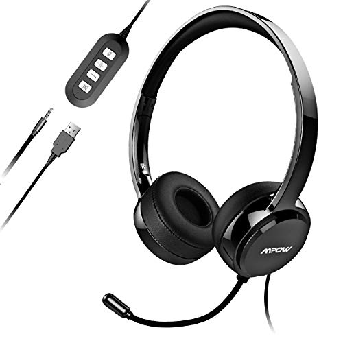 Mpow PC Headset, Multi-Use USB Headset & 3.5mm Skype Headset Chat...