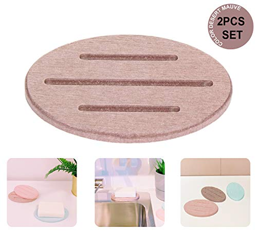 Sunny Eli Set of 2 Diatomite Soap Dish, Diatomite Holder Coaster Mat, Fast Water Absorbent, Self-Dry Diatomaceous Soap Bar Holder, for Bathroom, Bathtub, Shower, Kitchen (Desert Mauve)