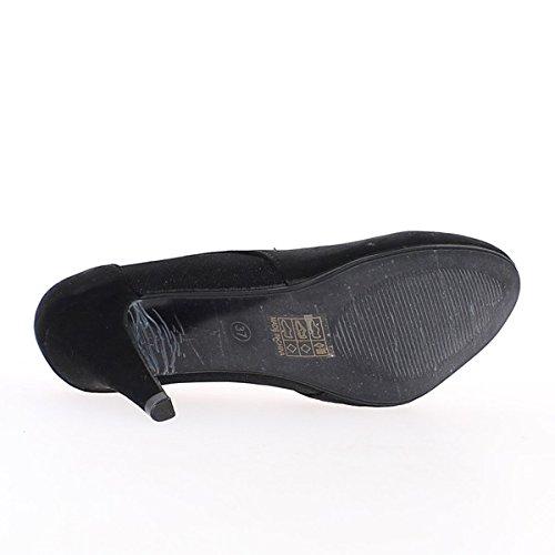 Escarpins noirs à talons de 9,5cm aspect daim et strass