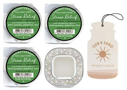Bath and Body Works Pearls & Gems Visor Clip Car Fragrance Holder and 3 Scentportable Aromatherapy Stress Relief Eucalyptus Spearmint. Paperboard Car Fragrance Sun & Sand.