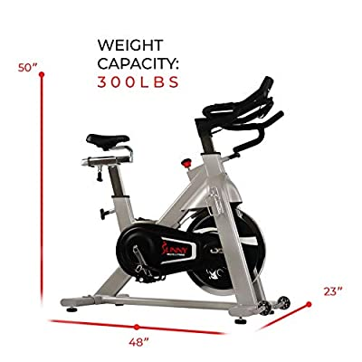 Sunny Health & Fitness Belt Drive Indoor Cycling Bike, High Weight Capacity with Cadence Sensor and Pulse Rate Monitor - SF-B1735