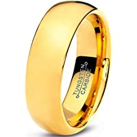 Charming Jewelers Tungsten Wedding Band Ring 7mm (18K Yellow Gold)