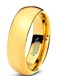 Tungsten Wedding Band Ring 7mm for Men Women Comfort Fit 18K Yellow Gold Plated Domed Polished Lifetime Guarantee
