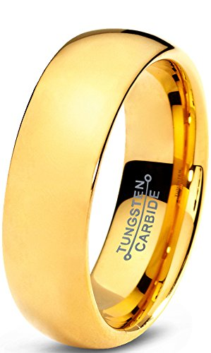 Tungsten Wedding Band Ring 7mm for Men Women Comfort Fit 18K Yellow Gold Plated Plated Domed Polished Size 10