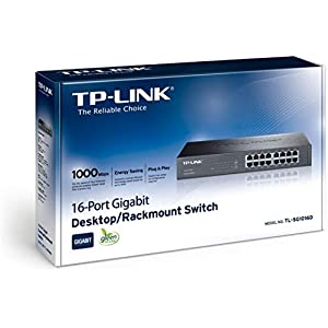 TP-Link TL-SG1016D 10/100/1000Mbps 16-Port Gigabit 13-inch Rackmountable Switch, 32Gbps Capacity