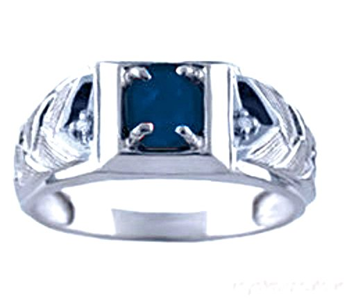 Mens Sapphire & Diamond Ring 14K White Gold Band
