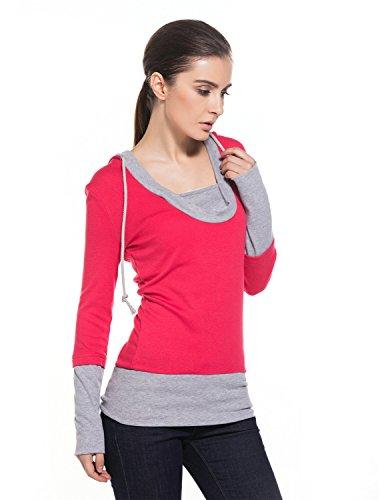 MODETREND Sudaderas con Capucha para Mujeres Sweatshirt Encapuchada Blusas Hoodie Camiseta Rosa