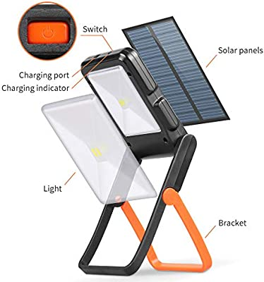 Neporal Portable LED Work Light Solar and USB Rechargeable with 2 Brightness Modes 360/°Adjustable Flashlight Solar Camping Lights 550mAh 50lm Rechargeable Night Light For Household Camping Hiking Car