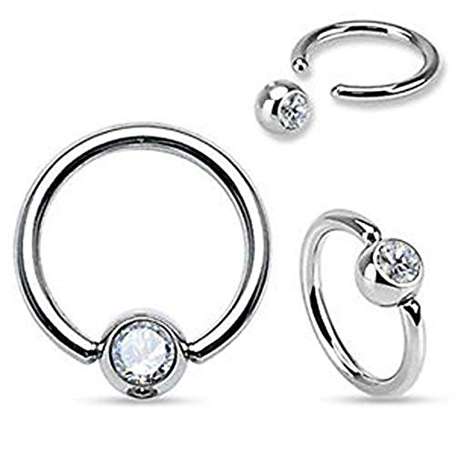 3mm Cuff (Inspiration Dezigns 316L Surgical Steel Gem Set Fixed One End Ball Hoop Ring (Sold Individually) (16G, L: 5/16