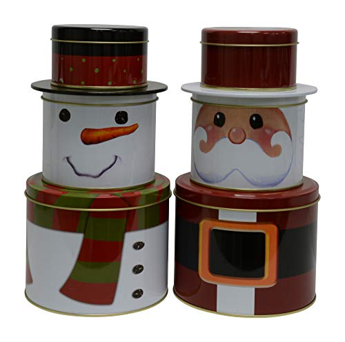 Cookie Snowman Tin (Christmas Tins with lids in nested sectional Santa and Snowman shapes, great for cookies, chocolate, candy or other treats and food storage (Set of 2))