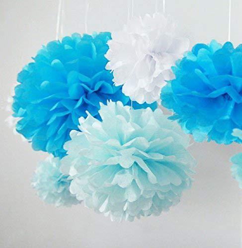 Pom Poms 5 Pcs 10'' 12'' Tissue Paper Flowers Flower Ball for Wedding Party Decoration-Blue (Art Festooning Tissue)
