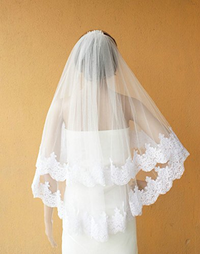 [2 Tier Layer Fingertip Tulle Bridal Wedding Veil with Lace Applique Edge with Comb-V28-Ivory] (Gothic Bride Halloween Makeup)