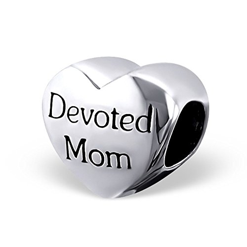Mother Charm Devoted Mom Heart Shape Classic 925 Sterling Silver for Mother Day (E16828) ()