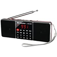TIVDIO L-288 Portable AM FM Stereo Radio with Wireless Speaker MP3 Player AUX Input Support TF Card USB Disk Sleep Timer (Red)