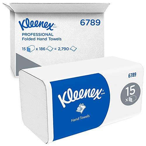 Kleenex intergevouwen handdoeken 6789-2-laagse V-gevouwen papieren handdoeken – 15 pakken x 186 papieren handdoeken (in…