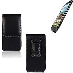 Funda para MobiWire Pegasus, la bolsa de cinturón de cuero de imitación de alta calidad en color negro | elegancia funcional simple llano. Teléfono Móvil Funda Caso bolso cruzado bolsillo clip de transporte vertical de la cubierta del bolso
