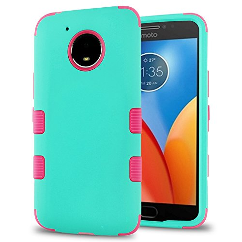 (Motorola Moto E4 Plus Case, Heavy Duty Polycarbonate and Silicone TPU Hybrid Hard Cover with Film Screen Protector and Stylus (Teal,)
