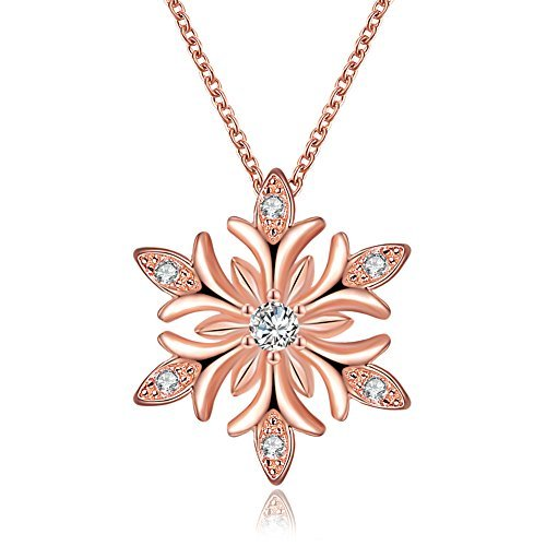 Snowflake Necklace Pendant with Swarovski Elements Crystal Christmas Gifts for Mom Women Girls(Rose Gold-3)