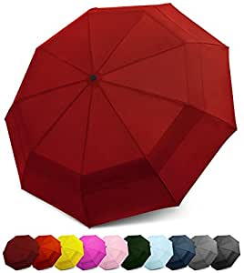 EEZ-Y Compact Travel Umbrella w/Windproof Double Canopy Construction - Auto Open Close (Burgundy)