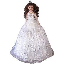 "Quinceanera Sweet 15 Porcelain Doll Umbrella Base - White 28"" (Qdoll28)"