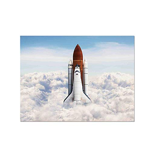 C COABALLA Outer Space Decor Heat Resistant Table Mat,Rocket Taking Off on Mission Spaceman Planet Gazing Endeavour Power Fire Print for Dining,15.7