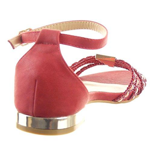 Sopily - Scarpe da Moda sandali alla caviglia donna Finitura cuciture impunture metallico Lines multi-briglia Tacco a blocco 1.5 CM - Rosso