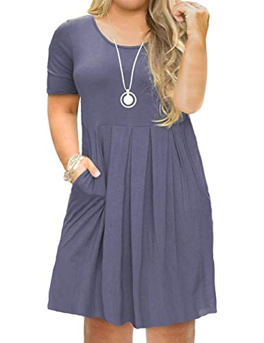 Tralilbee Women's Short Sleeve Pleated Loose Swing Casual Dress with Pockets Knee Length Purple Gray ()