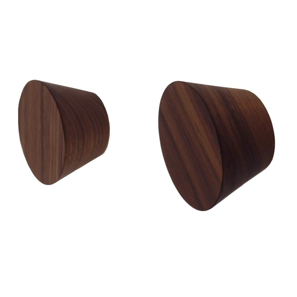 JINMURY 2 Pack Natural Wooden Coat Hooks, North America Black Walnut Wood (FAS Grade) Wall Mounted Single Decorative Wall Hooks, Handcrafted Clothes Hooks Hat Rack