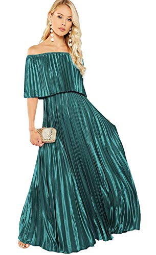 Milumia Women's Casual Off The Shoulder Layered Ruffle Nurse Maternity Long Maxi Dress Turquoise Large