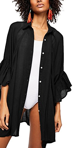 KingsCat Boyfriend Shirt Beach Dress Flared Ruffled Sleeve Swimsuit Cover up,Black