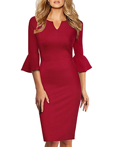 GlorySunshine Women 3/4 Flare Bell Sleeves Work Bodycon Pencil Dress Vintage Cocktail Party Dresses (2XL, Burgundy4)