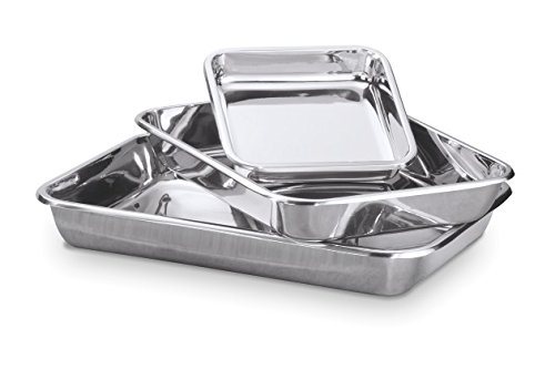 Hammer Stahl 3 Piece Rectangular Bake Pan Set, Stainless Steel by Hammer Stahl (Image #1)