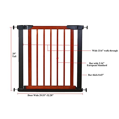 Fairy Baby Pet & Baby Gate Narrow Extra Wide for Stairs Metal and Wood Pressure Mounted Safety Walk Through Gate,Fit Spaces 68.11''-70.87'' (3-7 Days Delivered) by Fairy Baby (Image #5)