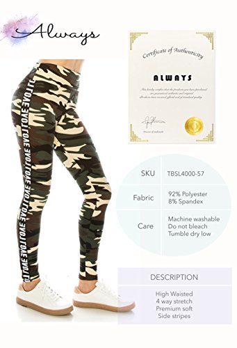 ALWAYS Legging Women Track Pants - Premium Soft Stretch Buttery Camo Print Love Elastic Band 57 One Size by ALWAYS (Image #7)