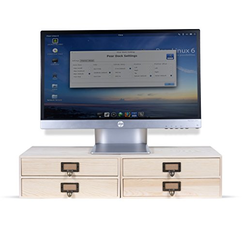 Wallniture Home Office Desk Organizer - 2 Drawer Monitor Riser - Printer Platform - Paper Holder Unfinished Wood Set of 2 (Natural)