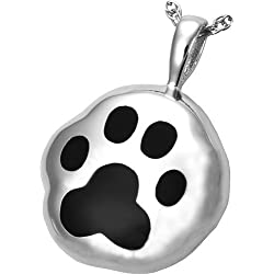 Memorial Gallery Pets 3160s Hammered Paw Print Sterling Silver Cremation Pendant