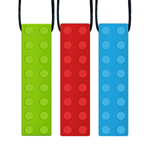 Panny & Mody Sensory Chew Necklace Pendant Chewlery Set for Boys and Girls(3 Pack), Silicone Chewy Brick for Kids with ADHD, Teething, Autism, Biting Needs (Red, Green, Blue)