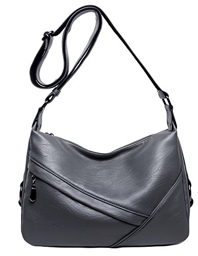 Shoulder Bag from Covelin, Leather Crossbody Tote Handbag Grey ()