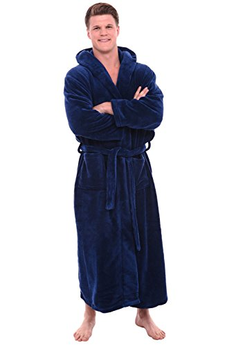 Robe Hooded Blue (Alexander Del Rossa Mens Fleece Robe, Long Hooded Bathrobe, 1XL 2XL Navy Blue (A0125NBL2X))