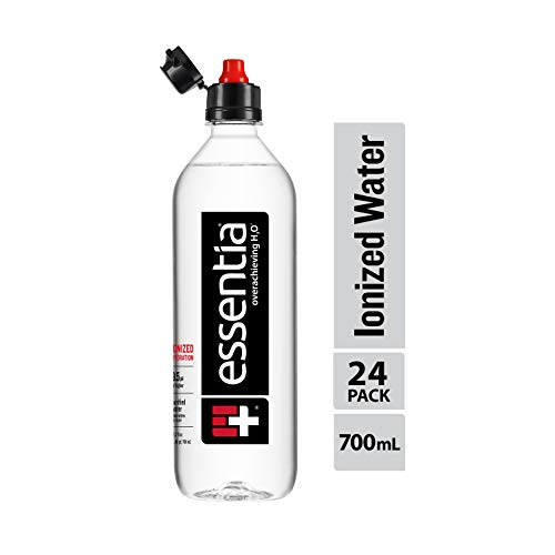 Essentia Ionized Alkaline Water with 9.5 pH or Higher, Purified Drinking Water Infused with Electrolytes for a Clean and Smooth Taste, Consistent Quality, Sports Cap, 23.6 Fl Oz, Pack of 24