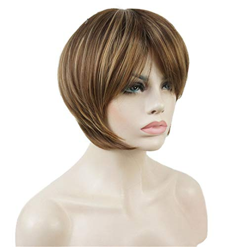 Short Straight Wig Women Brown With Blonde Highlights Synthetic Hair Heat Resistant Natural Full Wigs 6inches]()