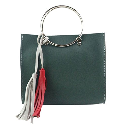 Green White Bag Tassel Women Fashion Red Shoulder Handle Steel Round Bag and Owill xw7nR6I0qx