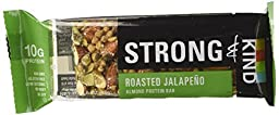 Strong & Kind Almond Protein Bar, Roasted Jalapeno (Pack of 12)
