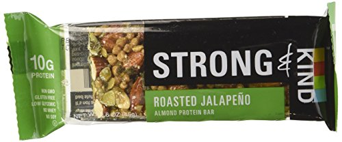 Strong & Kind Almond Protein Bar, Roasted Jalapeno 1.6 oz (Pack of 12)