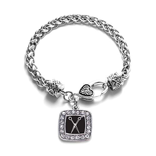 Inspired Silver - The Stylist Braided Bracelet for Women - Silver Square Charm Bracelet with Cubic Zirconia Jewelry