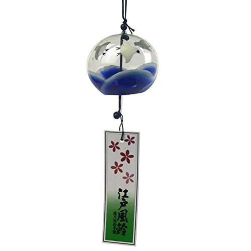 Made in Japan Handmade Wind Chime Edo Furin Wind Bell - Chidori Small Birds and Waves [Japanese Crafts Sakura] Japanese Bird Bells