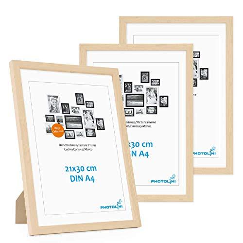 Photolini Juego de 3 Marcos 21x30 cm / A4 Modernos, Naturales de MDF con Vidrio acrilico, Incluyendo Accesorios/Collage de Fotos/galeria de imagenes