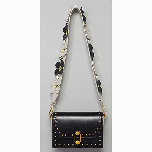 Wide Rivet Strap PU R8 Flower Leather Handbag Replacement Donalworld Strap qPdWRaIPw